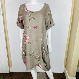 VASNA Sz XL Floral Linen Dress